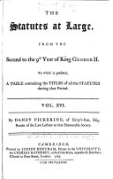 The Statutes at Large from the Magna Charta  to the End of the Eleventh Parliament of Great Britain  Anno 1761  continued to 1806   By Danby Pickering