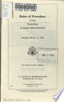 Rules of procedure of the Committee on House Administration