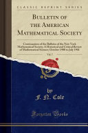 Bulletin Of The American Mathematical Society Vol 7