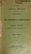 Annual Report Of The Directory Of The Astronomical Observatory Of Harvard College