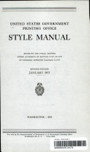United States Government Printing Office Style Manual  Revised Edition  January 1953