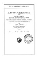 List of Publications of the United States Department of Agriculture from January  1931  to December  1935  Inclusive