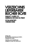 Subject guide to German books in print