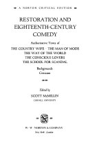 Restoration and Eighteenth century Comedy Book