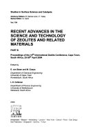 Recent Advances in the Science and Technology of Zeolites and Related Materials Book