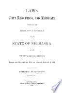 Laws Joint Resolutions And Memorials Passed At The Session Of The Legislative Assembly Of The State Of Nebraska
