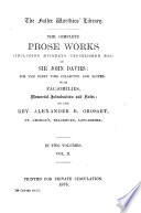 The Complete Prose Works (including Hitherto Unpublished Mss.) ... Vol. II