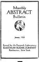Monthly Abstract Bulletin from the Kodak Research Laboratories Book