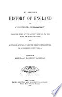 An Abridged History of England and Condensed Chronology  from the Time of the Ancient Britons to the Reign of Queen Victoria Book