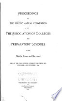 Proceedings of the     Annual Convention of the Association of Colleges and Preparatory Schools in the Middle States and Maryland