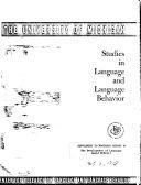 Studies in Language and Language Behavior