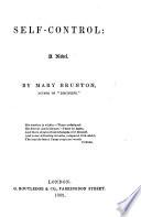 Self Control  a novel  By Mary Brunton  Fourth edition