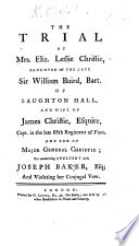 The Trial of Mrs  Eliz  Leslie Christie     for Committing Adultery with Joseph Baker  Etc Book