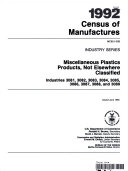 Miscellaneous Plastics Products, Not Elsewhere Classified