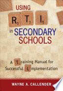 Using RTI in Secondary Schools Book