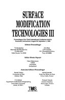 Surface Modification Technologies III