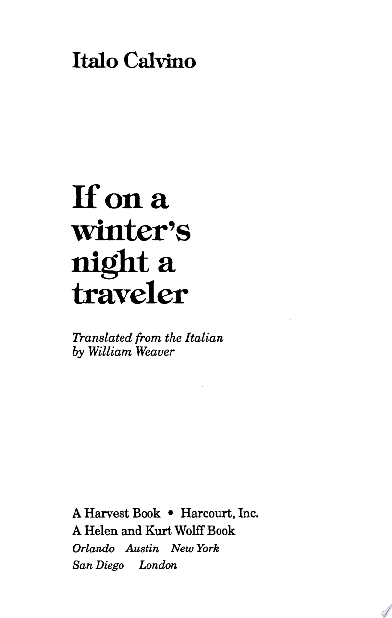 If on a winter's night a traveler image
