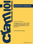 Studyguide for a First Course in Differential Equations with Modeling Applications by Zill  Dennis G