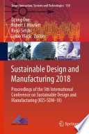Sustainable Design and Manufacturing 2018 Book