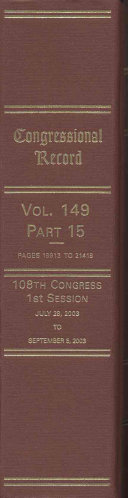 Congressional Record, V. 149, PT. 15, July 28, 2003 to ...