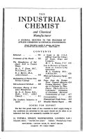 The Industrial Chemist and Chemical Manufacturer