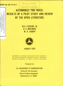 Automobile Tire Noise Results Of A Pilot Study And Review Of The Open Literature Final Report Book PDF