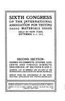 Papers on cements  stones  concrete and various subjects  Discussions of sections B and C  Appendix  List of members and by laws of the International Association for Testing Materials Book