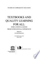 Textbooks and Quality Learning for All  : Some Lessons Learned from International Experiences , Volume 355