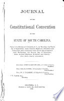 Journal of the Constitutional Convention of the State of South Carolina Book