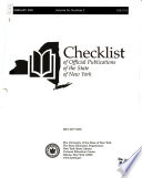 A Checklist of Official Publications of the State of New York