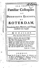 All the Familiar Colloquies of Desiderius Erasmus  of Roterdam  Concerning Men  Manners  and Things