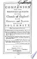 A Companion for the Festivals and Fasts of the Church of England