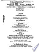 Potential Impact On The U S Economy And Selected Industries Of The North American Free Trade Agreement Book PDF