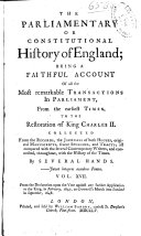 Pdf The Parliamentary Or Constitutional History of England