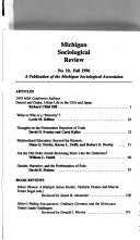 Michigan Sociological Review Book
