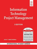 INFORMATION TECHNOLOGY PROJECT MANAGEMENT  3RD ED Book