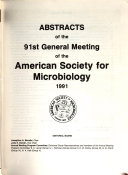 Abstracts of the Annual Meeting of the American Society for Microbiology Book