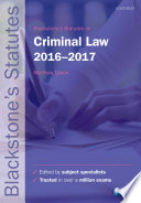 Blackstone's Statutes on Criminal Law 2016-2017