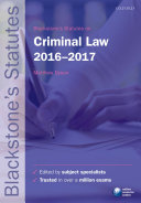 Blackstone's Statutes on Criminal Law 2016-2017