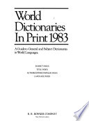 World Dictionaries in Print
