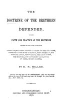 Pdf The Doctrine of the Brethren Defended, Or, The Faith and Practice of the Brethren