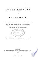 Prize sermons on the sabbath  ed  by J  Gritton