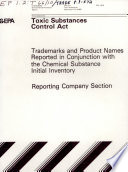 Toxic Substances Control Act Tsca Chemical Substance Inventory