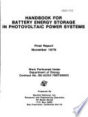 Handbook for Battery Energy Storage in Photovoltaic Power Systems