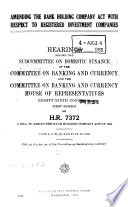 Amending the Bank Holding Company Act with Respect to Registered Investment Companies Book