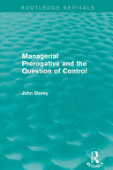 Managerial Prerogative and the Question of Control ...