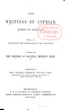 Ante-Nicene Christian Library: The writings of Cyprian, etc., v. 2 (1869)