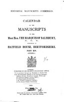 Calendar of the Manuscripts of the Most Honourable the Marquess of Salisbury ... ebook