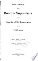 Proceedings of the Board of Supervisors of the County of St  Lawrence