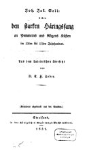 Über den starken Häringsfang an Pommerns und Rügens Küsten im 12ten und 14ten Jahrhundert